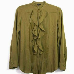 Ann Taylor Womens Button Up Blouse Olive Green